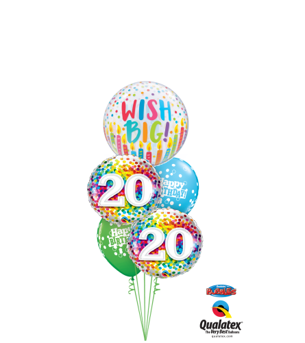 Wish Big 20th Birthday Cheerful Bubble Balloon Bouquet