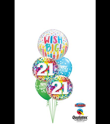 Wish Big 21st Birthday Cheerful Bubble Balloon Bouquet