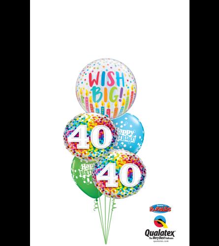 Wish Big 40th Birthday Cheerful Bubble Balloon Bouquet