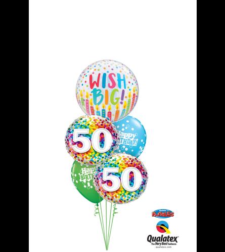 Wish Big 50th Birthday Cheerful Bubble Balloon Bouquet