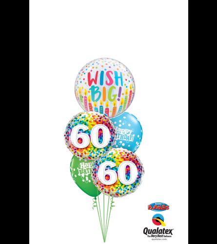 Wish Big 60th Birthday Cheerful Bubble Balloon Bouquet