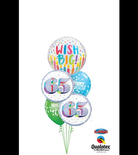 Wish Big 65th Birthday Cheerful Bubble Balloon Bouquet
