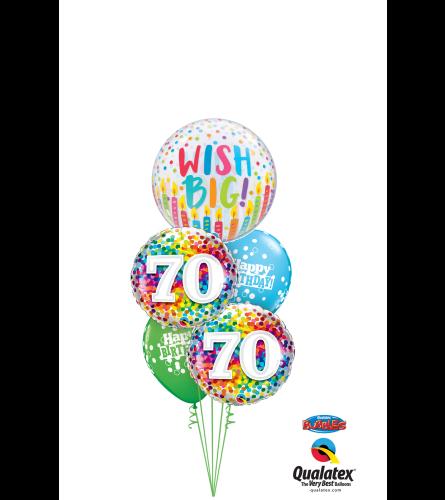 Wish Big 70th Birthday Cheerful Bubble Balloon Bouquet