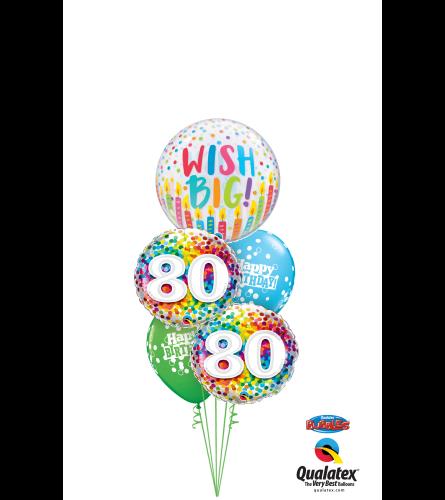 Wish Big 80th Birthday Cheerful Bubble Balloon Bouquet