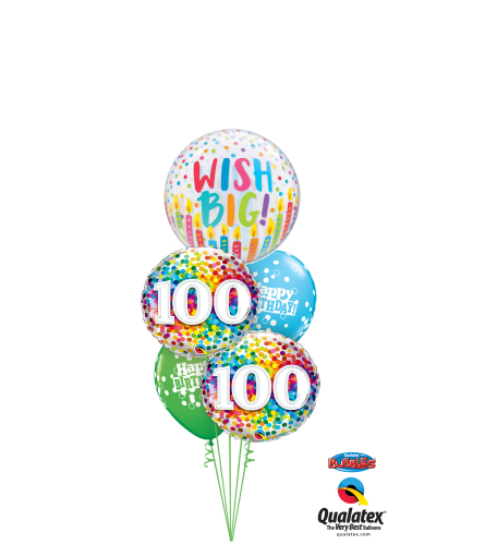 Wish Big 100th Birthday Cheerful Bubble Balloon Bouquet