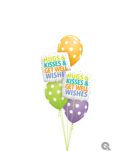 Hugs, Kisses & Get Well Wishes Classic Balloon Bouquet
