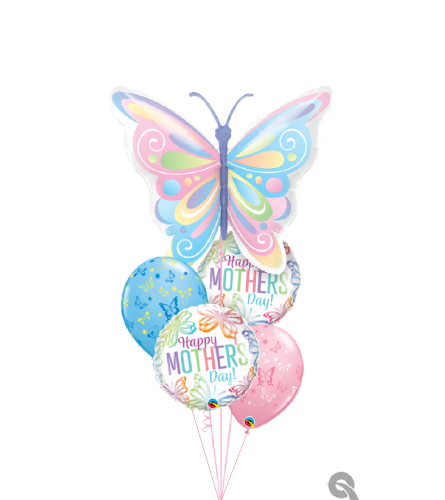 Pastel Butterfly Wishes for Mom Cheerful Balloon Bouquet