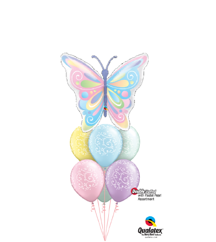 Beautiful Pastel Butterfly Awesome Balloon Bouquet
