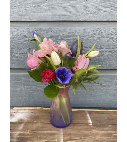 Easter Sparkle- Variety of Springy Flowers in colored vase