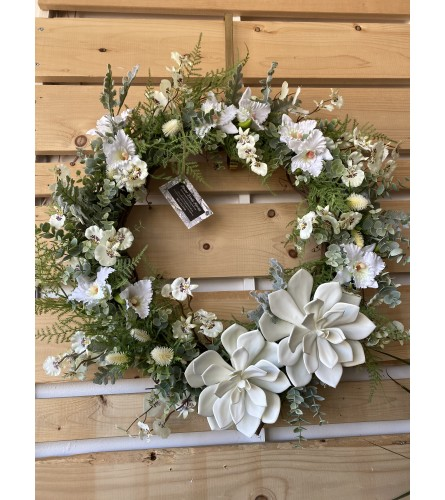 White succulent wreath for spring & summer