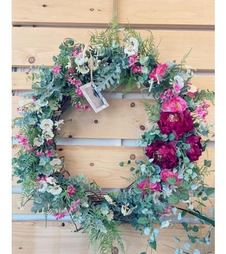 Ranunculus spring into summer door wreath