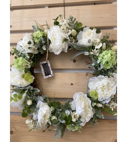White peony door wreath