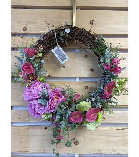 Pink peony door wreath