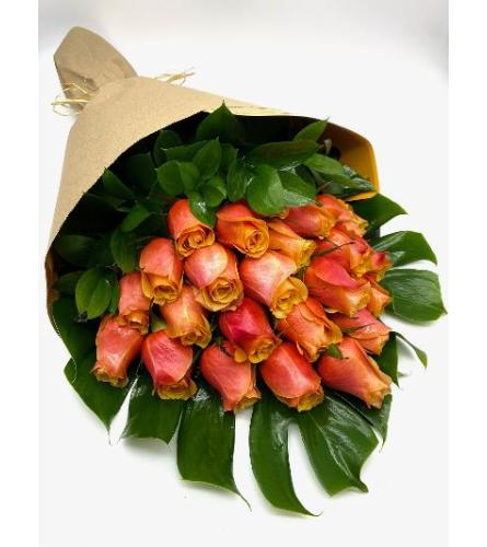 24 Premium Long Stem Orange Roses Loose Wrapped With greens.Have