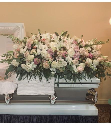 Blush & Lilac tribute casket spray