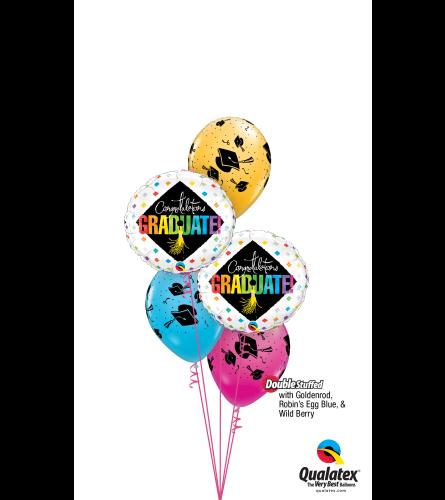 Hats Off To The Grad Classic Confetti Balloon Bouquet