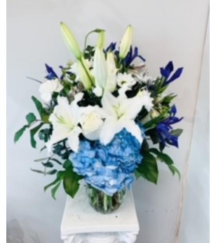 Blue Moon Vase Arrangement