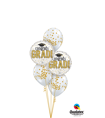 Congrats Grad! Gold Confetti Classic Confetti  Balloon Bouquet