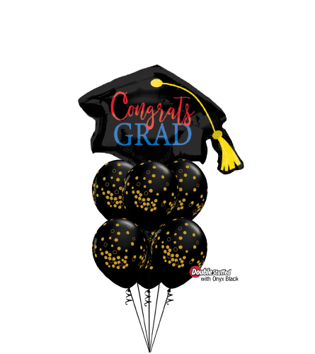 Congrats Grad! Black and Gold Awesome Balloon Bouquet