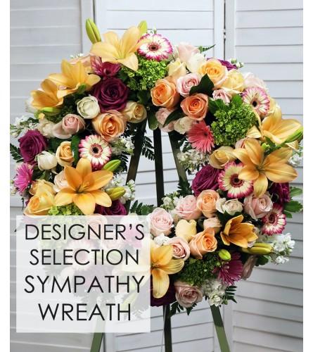 Sympathy designer choice standing wreath