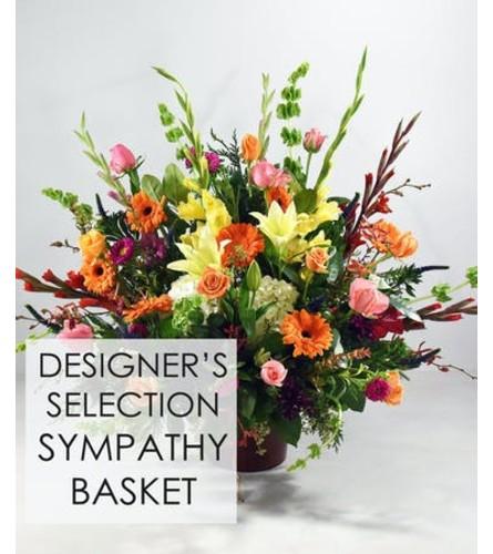 Sympathy Arrangement in Basket or White or Brown Urn