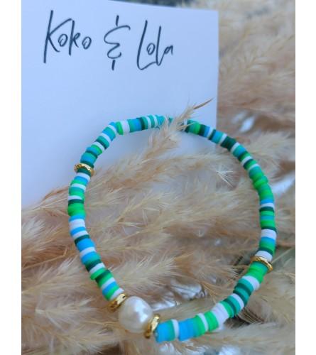 Koko & Lola Turquoise Stacked Shell Bracelet