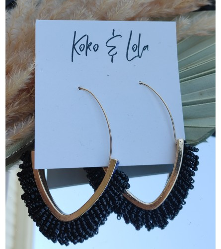 Koko & Lola Black Beaded Drop Earrings
