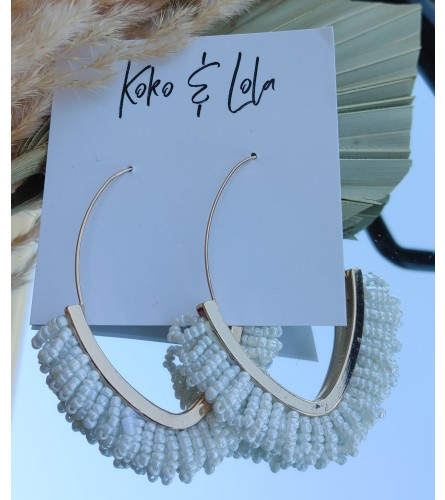 Koko & Lola White Beaded Drop Earrings