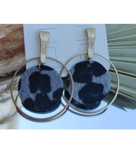 Dark Leopard Print and Gold Hoop Earrings
