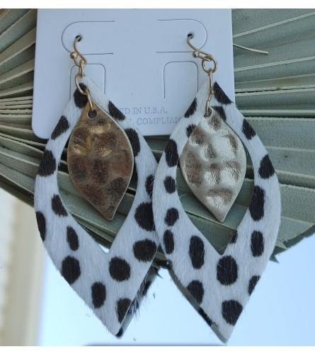 Polka Dot and Gold Drop Earrings