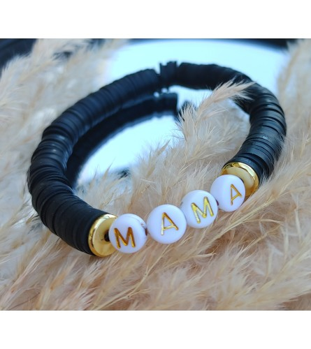 Mama Black Stacked Shell Bracelet