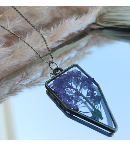 Real Dried Flower Resin Necklace - Lavender