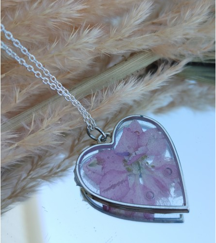 Real Dried Flower Resin Necklace - Pink Flower