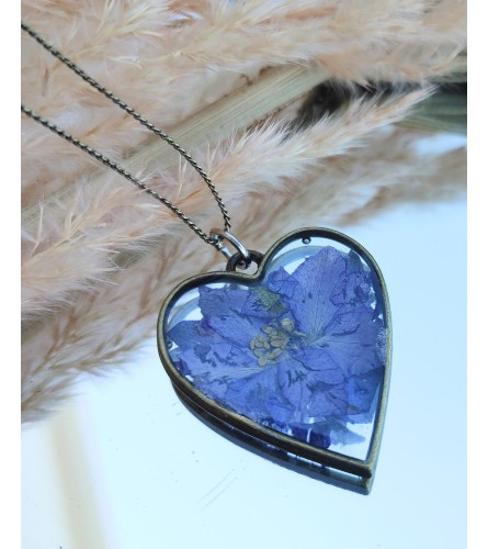 Real Dried Flower Resin Necklace - Purple Flower