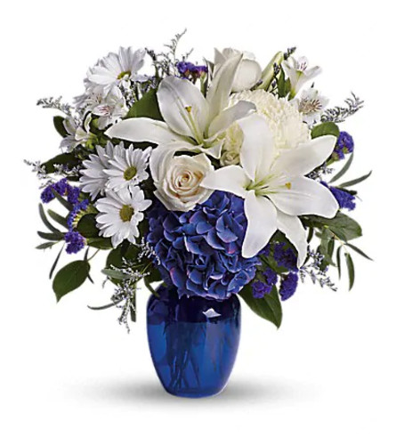 Beautiful in Blue Vase by Teleflora