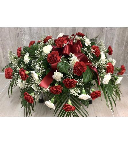 Red & White Carnation Casket Spray