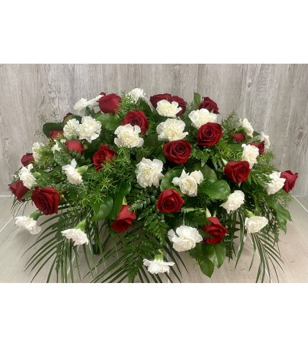 Red Rose & White Carnation Casket Spray