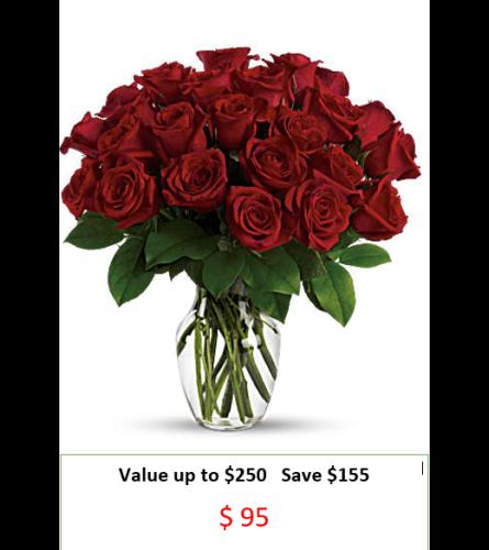 24 Premium Long Stem Red Roses Bouquet