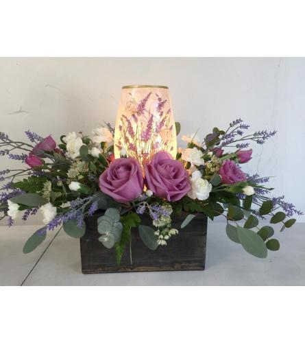 Lavender Floral Lamp Arrangement