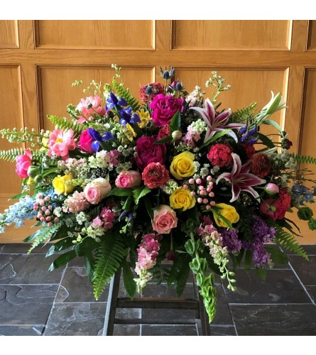 Casket Spray of bright mixed Flowers