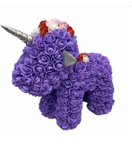 Standing Purple Unicorn Rose Bear