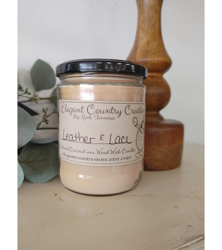 Elegant Country Creations Candle - Leather and Lace