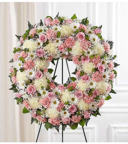 Serene Blessings Pink Standing Wreath