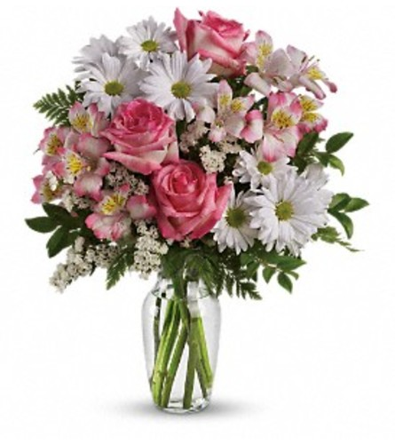 What a Treat Bouquet With Roses Vase Arrangement