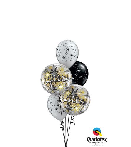 Congratulations Sparkles & Swirls Classic Balloon Bouquet