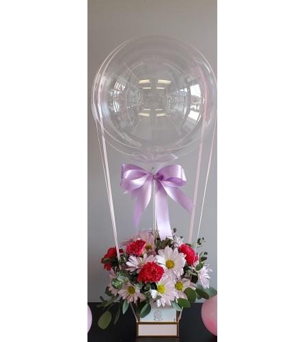 BOBO Air Balloon with Fresh Cut Flowers