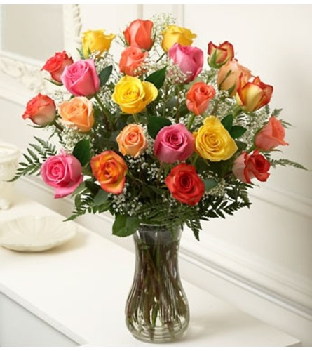 Two Dozen Mixed Colored Roses