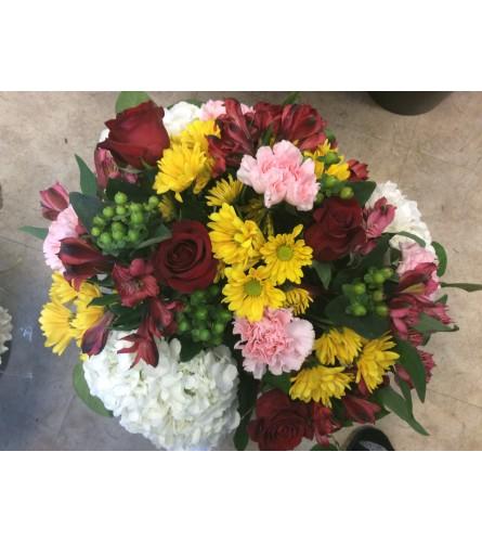 Mom's hand tie bouquet