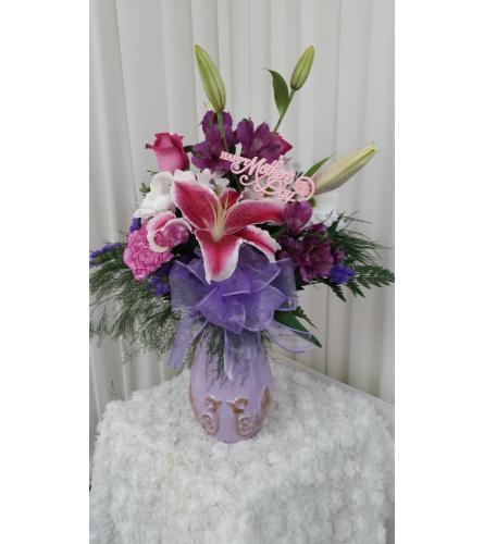 teleflora's lavishly lavander vase