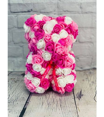 Forever Rose Teddy In Pinks and White